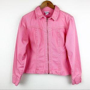 CAbi Zip Front Jean Jacket Pink 100% Cotton Pink